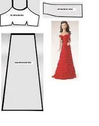 Resultado de imagem para moldes de vestido da Barbie.
