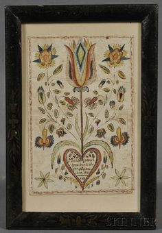 Polychrome Painted Fraktur, possibly Lebanon, Pennsylvania, c. 1824