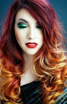 Violet Orange Yellow Ombre Hair