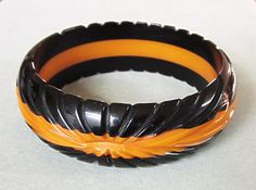 Vintage Carved Black Butterscotch Bakelite Bangle-11 Main