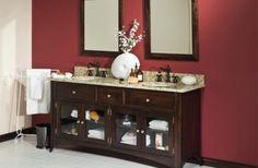 pretty portable towel rack or red wall color idea feat wood mirror frame design and rustic bathroom sink cabinet with glass door | Rustic Bathroom Ideas Present Elegant Bathroom  | https://www.designoursign.com #bathroom  #luxurybathroom #luxurybathroomideas #luxuryfurniture #interiordesign #luxurydesign #homedecor #designdetails #rusticbathroom
