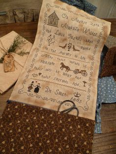 Primitive Cross Stitch E-Pattern- Pdf- Prim Sewing  Pouch- Laura Ingalls WeddinG Anniversary- August 2012 -The Blue Attic- by nathaliepoppy on Etsy https://www.etsy.com/listing/106737323/primitive-cross-stitch-e-pattern-pdf