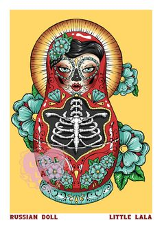 A4 Print of a Russian Doll Illustration by Little Lala. $10.00, via Etsy.