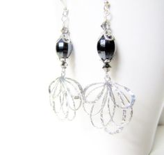 Silver Wedding Jewelry Bridesmaid Jewelry Maid of Honor Evening Fashion Special Occasion Black Jewelry