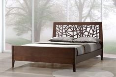 Baxton Studio Jennifer Tree Branch Inspired Modern and Contemporary King Size Dark Brown Solid Wood Platform Base Bed Frame