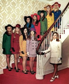 60's fashion, now it looks like the girls were ready for a Saturday Football game.  Everyone dressed, hats, gloves and everyone looked marvelous.