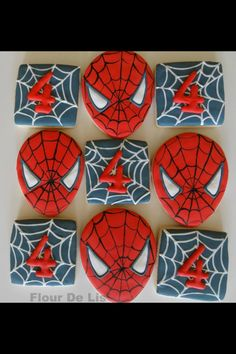 Spiderman cookies...a square cookie cutter and an upside down Easter egg cookie cutter.
