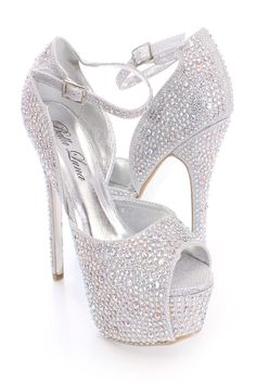 FABULICIOUS FLAIR-419(G) Silver Multi Glitter-Clear Ankle Strap ...