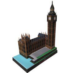 Big Ben Free 3D Printable Model.  Educational paper craft! Free to print.