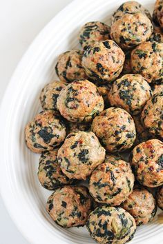 Baked Turkey Meatballs with Spinach. Bake and add to marinara sauce for lite spaghetti dinner