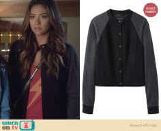 Emily's black jacket with grey sleeves on Pretty Little Liars. Outfit Details: http://wornontv.net/26454 #PLL #fashion