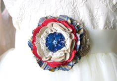Fabric Flower Pin - Red White and Blue Patriotic Jewelry Brooch