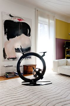 Carbon Ciclotte with Ipad Holder in a penthouse close to Milan _ Italy