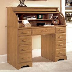 I prefer a lighter colour than the usual dark timber-Riverside Roll Top Desk-Casual Light Oak