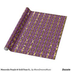 #Menorahs #Purple and #GoldFauxGlitter #HanukkahWrappingPaper by #MoonDreamsMusic