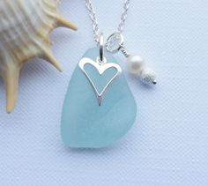 Scottish Sea Glass and Sterling Silver Heart Necklace - HEART of the SEA £24.00