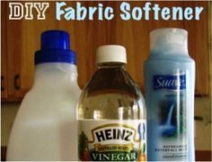 Homemade fabric softener. 6 cups HOT water  3 cups white vinegar  2 cups Suave Refreshing Waterfall Conditioner (or other favorite)