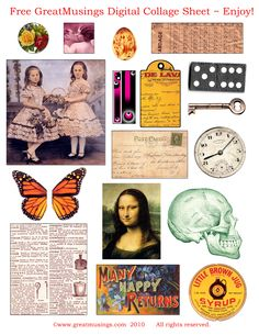 Free collage sheet to use in your art and or crafts. Sent out to purchaser with every GreatMusings Etsy order! Free Collage, Digital Collage, Collage Art, Papel Vintage, Paper Art, Paper Crafts, Images Vintage, Scrapbooking, Journal Cards