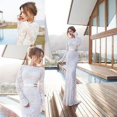 Discount Vintage 2014 Bateau Neck Long Sleeves Lace Wedding Dress with Sash Floor Length Column Illusion Backless Beach Bridal Dresses Gowns 2014 New Online with $165.04/Piece | DHgate