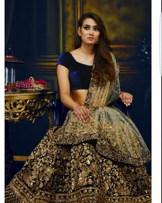 Navy Blue & Gold Bridal Lehenga | Beautiful Velvet Blouse | Stunning Embroidery Work | Elegant Bride