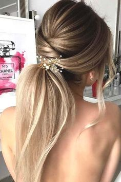 : 72 Romantic Wedding Hairstyle Trends in 2019 #ponytailhairstyles 72 Romantic Wedding Hairstyle Trends in 2019 | Ecemella Twist Hairstyles, Ponytail Hairstyles, Straight Hairstyles, Cool Hairstyles, Blonde Hairstyles, Hairstyle Men, Holiday Hairstyles, Formal Hairstyles, Hairstyles Haircuts