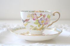 Tuscan English Fine Bone China Teacup and Saucer Gifts for Her Little Princess Birthday Gift Replacement China - c. 1950's