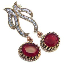 $52.85 Victorian Style! Red Ruby & White Topaz Sterling Silver earrings at www.SilverRushStyle.com #earrings #handmade #jewelry #silver #ruby