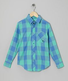 Take a look at this Blue & Green Signature Plaid Button-Up - Infant, Toddler & Boys by Woolrich on #zulily today!