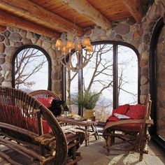 Image of Aesthetic Log Cabin Porches and Decks Below Rattan Patio Furniture Set with Large Throw Pillows Below Small Lamp Shades Mounted on Wooden Country Chandeliers also Small Cabin Kitchen Rustic Cabin Bedspreads Outdoor Rooms, Outdoor Living, Indoor Outdoor, Cabana, Future House, My House, Twig Furniture, Furniture Plans, Garden Furniture