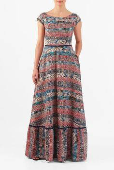 I this Tile print crepe flounce hem maxi dress from eShakti Trendy Dresses, Modest Dresses, Casual Dresses, Prom Dresses, Sleeve Dresses, Event Dresses, Floral Dress Outfits, Maxi Gowns, African Fashion Dresses