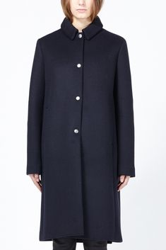 Acne Studios Esta Bonded Jacket (Mazarine Blue) Wool blend heavy weight over coat with pointed collar and snap enclosure. Side pockets at waist. Fully lined. Dry clean.