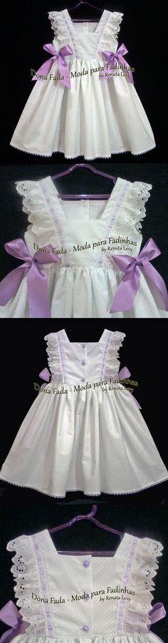Vestido Branco e Lilás - 2/3 anos - - - - - baby - infant - toddler - kids - clothes for girls - - - www.facebook.com/...