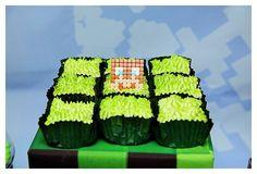 Grass Square Cupcakes from a Minecraft Birthday Party via Kara's Party Ideas |