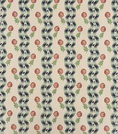 """Rita Konig singles out Pommes des Pin by Le Menach. """"I found an old, very faded piece of it the other day and had cushions made for our little house in Wales. I love how the fabric can work in a humble shepherd's cottage and also be used in much grander surroundings."""" Pommes des Pin is available through Pierre Frey."""