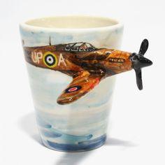 Aireplane Spitfire Mug Ceramic Stoneware Art Handmade Gifts 0005 | madamepomm - Ceramics & Pottery on ArtFire