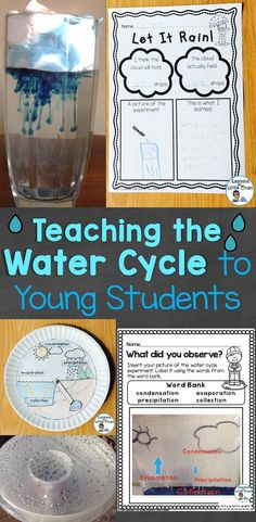 Ideas for teaching the water cycle to young students including simple experiments, a water wheel craft, interactive recording pages, & more.   #watercycle #watercycleproject #watercycleexperiment #watercycleactivities #scienceforkids #scienceexperiments #raincycle