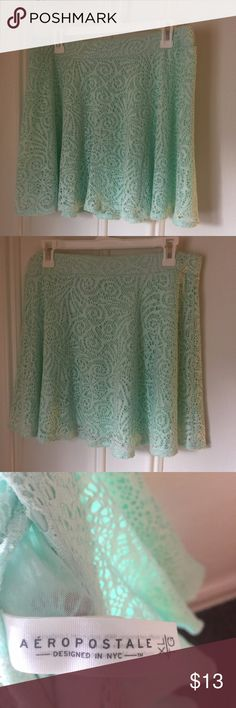 Aeropostale mint green skirt Light green skater skirt with delicate lacy designs, great condition. Size extra large. Aeropostale Skirts