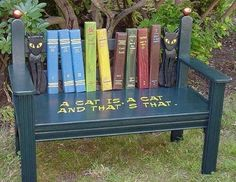 Cat & Book bench - Perfect for a Little Free Library Little Free Libraries, Little Library, Free Library, Library Books, Photo Library, Painted Chairs, Painted Furniture, Diy Furniture, Furniture Online