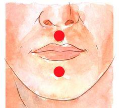 Abaixo do nariz e do lábioinferior.