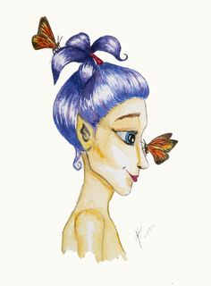 Purple haired-pixie :) Watercolor. Fine art prints available in various formats. Please contact me for details!