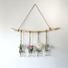 hanging branch with vases - The People Shop - Basteln - Vase ideen Diy Wand, Home Decor Accessories, Decorative Accessories, Decorative Items, Home Crafts, Diy And Crafts, Homemade Crafts, Decor Crafts, Mur Diy