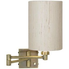 antique brass with ivory linen shade plug in swing arm wall lamp bronze sweep wall swing