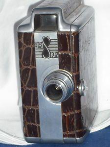 Vintage 8MM RARE Briskin Movie Camera Made In Santa Monica CA Brown Leather