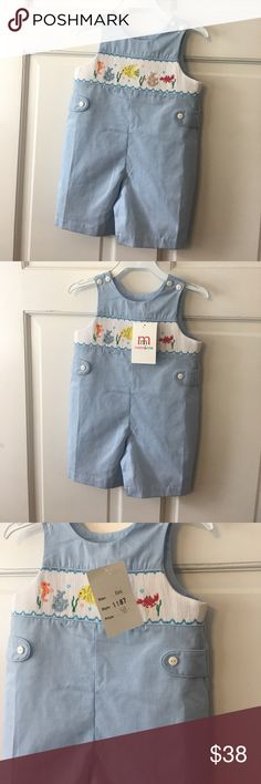Mom & me Shortall boys size 6 months Mom & me Shortall boys size 6 months. Small/light stain on back. New with tags Mom & Me One Pieces Bodysuits