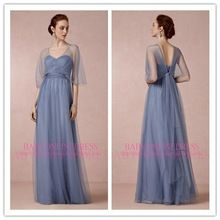 2014 High Quality Chinese Beach Vintage A-line Blue Long Half Sleeve Tulle Sheer Empire Bohemian Style Mother Of The Bride Dress