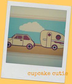 Retro Car and Caravan cross stitch needlepoint by cupcakecutie1, $7.00