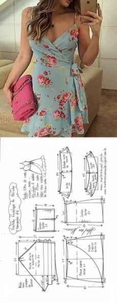 corte e costura Marlene Mukai+ Dress Sewing Patterns, Clothing Patterns, Pattern Sewing, Sewing Ideas, Sewing Crafts, Summer Dress Patterns, Sewing Summer Dresses, Wrap Pattern, Sewing Projects