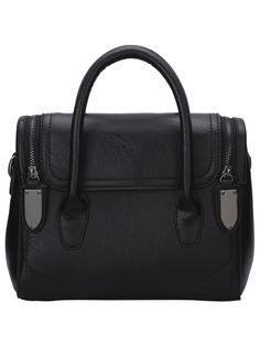 Black Contrast Zipper Magnetic Tote Bag.  -SheIn