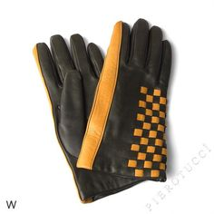 Dark Green nappa lambskin with senape colored accents, wool lining Ladies Leather Gloves. sz MED $68
