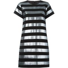 Marc By Marc Jacobs Striped T-Shirt Dress ($625) ❤ liked on Polyvore featuring dresses, black, stripe tee dress, silver metallic dress, tee shirt dress, black stripe dress and tee dress
